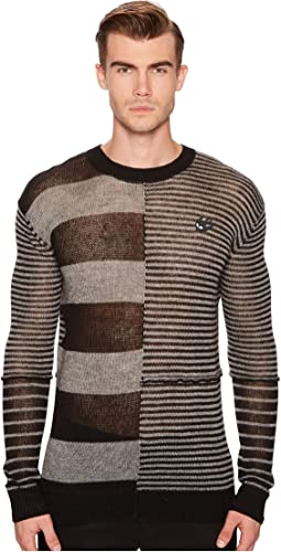 Patched Stripe Crew Sweater