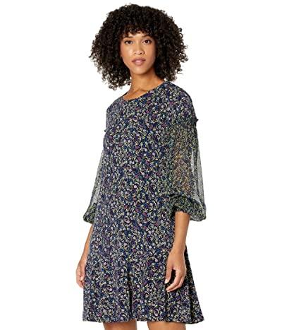 CeCe Long Sleeve Mix Media Flora Whispers Knit Dress