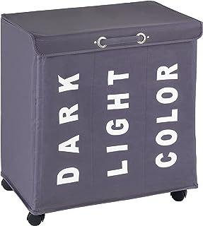 WENKO Panier à linge Trivo gris - corbeille à linge Capacité: 116 l, Polyester, 56 x 60 x 35 cm, Gris foncé