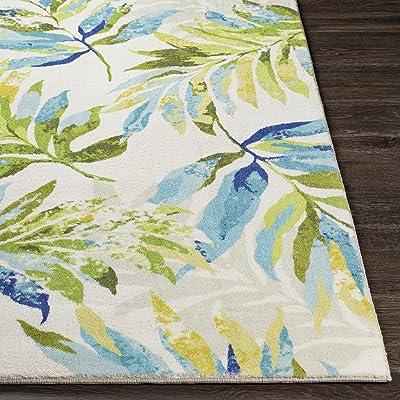 "Artistic Weavers Samar Tropical Palm Frond Area Rug, 2'6"" x 4', Lime/Aqua"