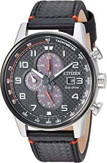 Men's Eco-Drive Stainless Steel Japanese-Quartz Watch with Leather Calfskin Strap, Black (Model: CA0681-03E)