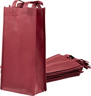 Wine Tote Bags - 10-Pack Non-Woven Double Bottle Wine Totes, Reusable Wine Carrying Bags, Ideal Bottle Gift Bags for Wedding, Birthday, Housewarming, Dinner Parties, Wine Accessories, Burgundy