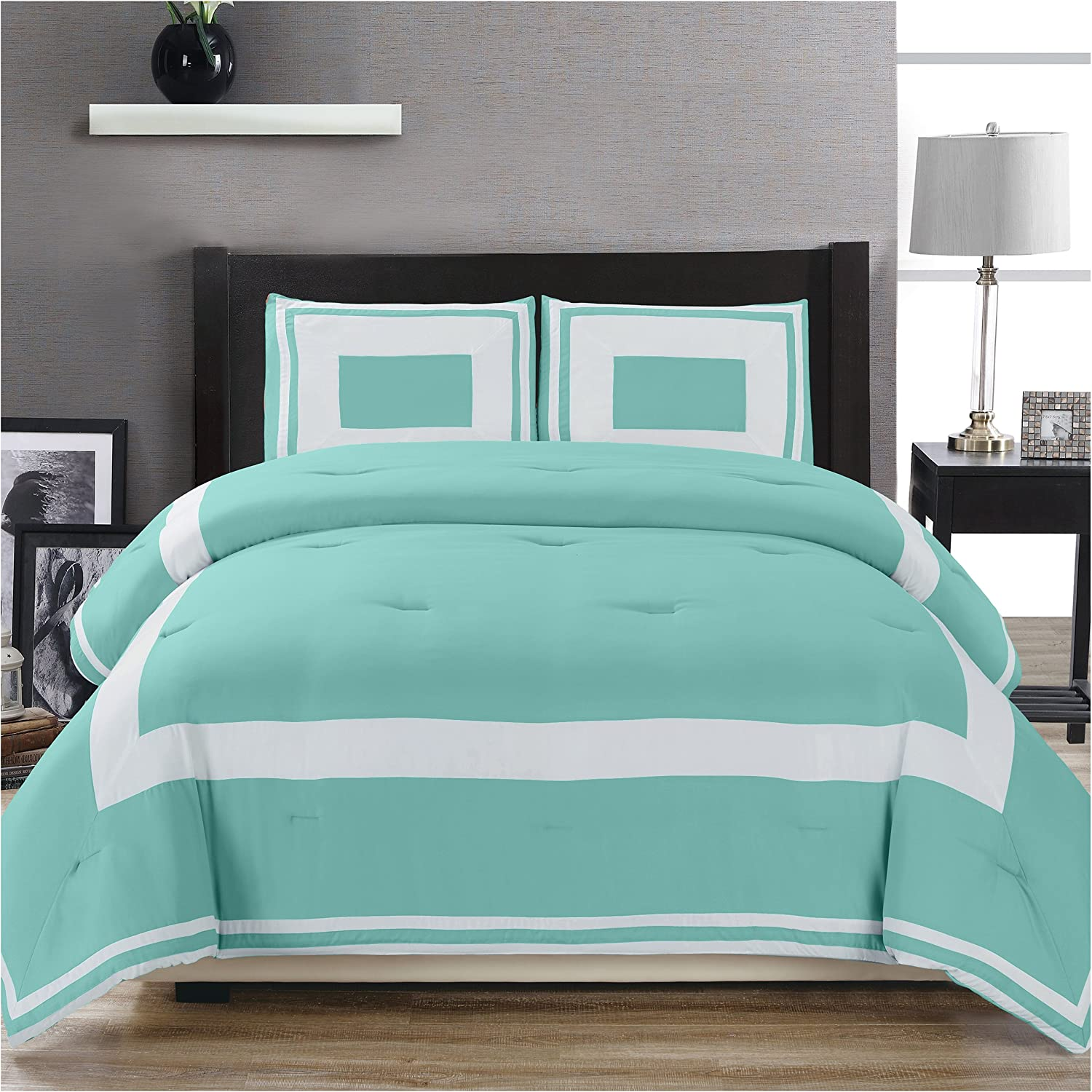 Superior Grammercy color Blocked Comforter Set with Pillow Shams, Luxury Hotel Bedding with Soft Microfiber Shell, All Season Down Alternative Fill - Full Queen, Teal