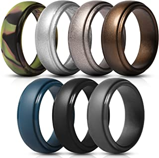 Saco Band Silicone Rings Men - 7 Rings / 1 Ring Rubber Wedding Bands