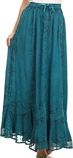 Jaclyn Adjustable Skirt with Lace Embroidered Trim and Detailed Embroidery