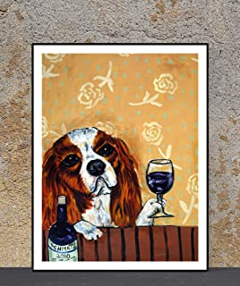 Cavalier King Charles Spaniel - Wine Bar Decor - dog art print - gift for dog lover - dogs drinking wine