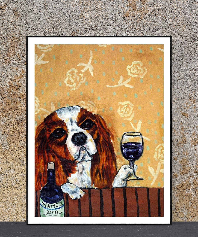 Cavalier King Charles Spaniel - Wine Dedication dog Bar Directly managed store Decor art print