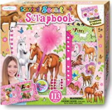 SMITCO Horse Gifts for Girls - Scrapbook Craft Kit for Kids 5 to 10 Years Old - Hardback Secret Set with Passcode Lock to Keep Her Secrets Safe, Stickers, Jewels, Tape and Pen in Horses Theme
