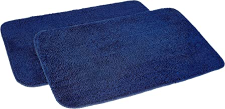 AmazonBrand - Solimo Anti-Slip Microfibre Bathmat, 40cm x 60cm - Pack of 2 (Blue)