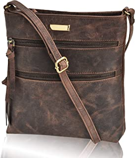 Leather Crossbody Purse for Women- Small Crossover Cross...