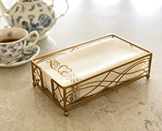 Gold Elegant Sturdy Guest Napkin Holder | Disposable Paper Hand Towel Storage Tray Caddy | Premium Quality | Bathroom Kitchen Dining Table Wedding Party Hotel Office Restaurant décor | Indoor Outdoor