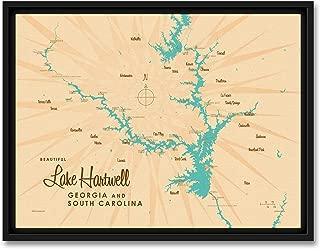 lake hartwell map framed