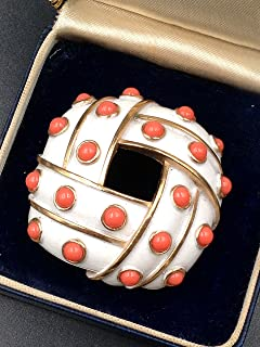 Trifari Vintage Brooch White Enamel Coral Glass Cabochons
