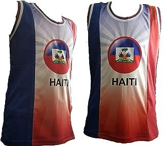Tank Top Haiti Vest T-Shirt Rasta Reggae Mesh Sleeveless Haitian Flag Hispaniola Hayti