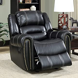 Dylan Contemporary Black Glider Recliner by Foa Modern Transitional Solid Faux Leather Foam Wood Manual Recline Nailheads