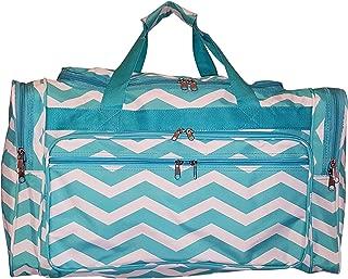 22 inch Fashion Multi Pocket Gym Dance Cheer Travel Carry On Duffle Bag with Bottle Holder (Blank - Aqua Chevron)