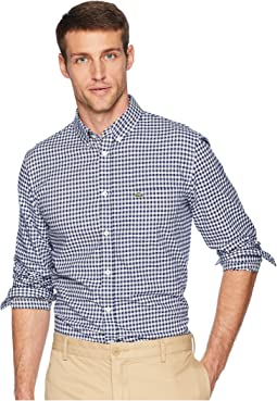 Long Sleeve Regular Fit Cotton Twill Casual Button Down w/ Checkbox Print