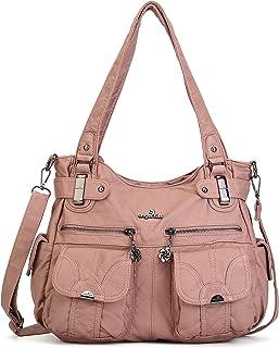 Purses Women Handbags Large Double Zipper Multi Pocket Washed Shoulder Bags Purse with compartments Designer …