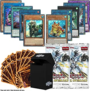 Totem World Legendary Bundle: 10 Ultra Rare and 100 Yugioh Cards with 2 Duel Overload Booster Packs & Deck Box
