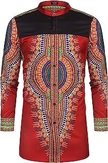 COOFANDY Men`s African Dashiki Print Shirt Long Sleeve Button Down Shirt Bright Color Tribal Top Shirt