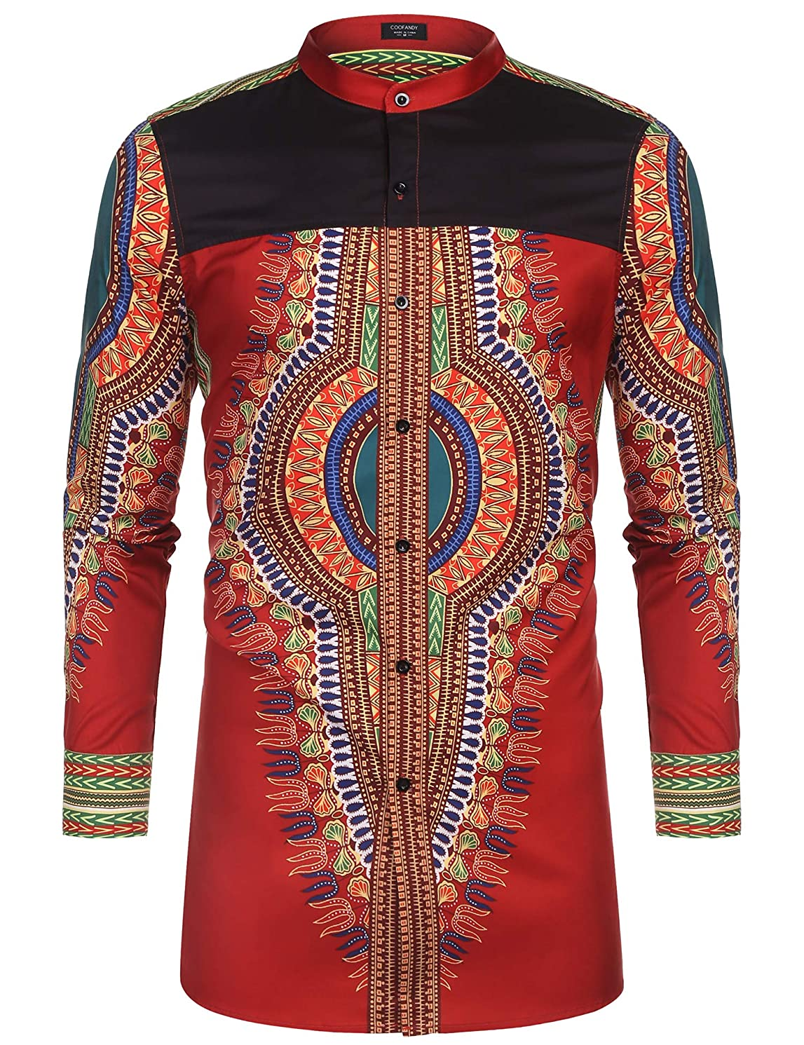 COOFANDY Men's African Dashiki Print Shirt Long Sleeve Button Down Shirt Bright Color Tribal Top Shirt
