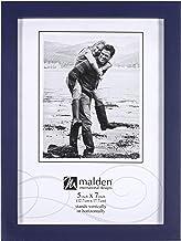 Malden International Designs Navy Blue Concept Wood Picture Frame, 5x7, Blue