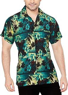 CLUB CUBANA Camisa Hawaiana Florar Casual Manga Corta Ajuste Regular para Hombre