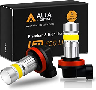 Alla Lighting 2800lm H8 H11 LED Bulb 3000K Amber Yellow Xtreme Super Bright High Power COB-72 H16 Fog Lights DRL Replacement for Cars, Trucks