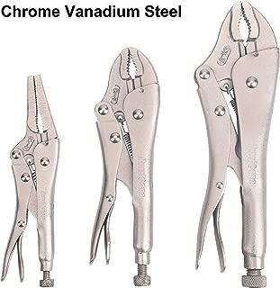 Hurricane 3 Piece Locking Pliers Set, Chrome Vanadium steel, curved and long nose locking pliers