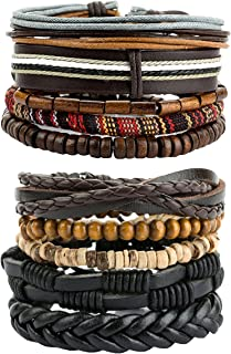REVOLIA 10-15Pcs Mens Womens Leather Bracelets Wooden Beaded Bracelets Braided Cuff