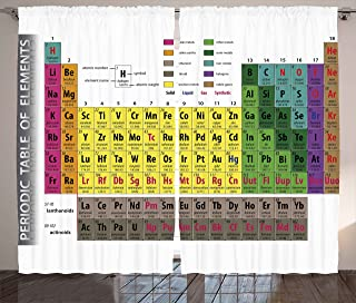 Ambesonne Modern Curtains, Periodic Table of Elements PHD Chemistry Student Family for Science Lover Education, Living Room Bedroom Window Drapes 2 Panel Set, 108