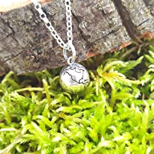 Earth Globe 3D Charm Necklace - Sterling Silver Necklace - Gift for Her