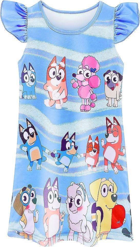 Girls Nightdress Nighties Pyjamas Princess Flutter Sleeve Nightgown Casual for Toddler Kids 3-8Y
