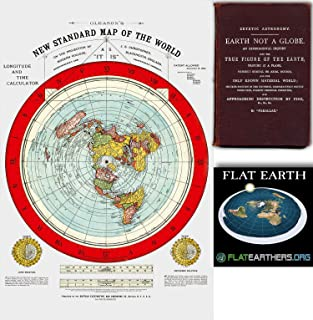 "Flat Earth Map - Gleason's New Standard Map Of The World - Large 24"" x 36"" 1892 Includes FREE eBook - Zetetic Earth Not A ..."