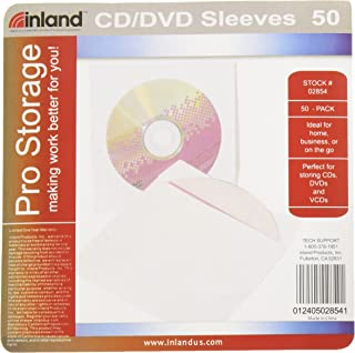 ProHT CD/DVD Paper Sleeves (02854), CD/DVD Sleeves Envelope with Clear Window and Flap, White - 50 Pack