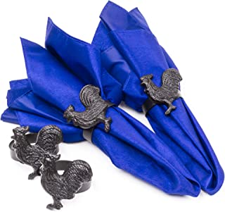 Farmhouse Metal Rooster Napkin Rings, Set of 4