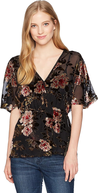 Angie Womens Black Floral Burnout Velvet Surplus Kimono Top TShirt