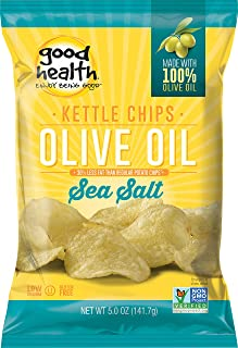 Good Health Kettle Style Potato Chips, Olive Oil & Sea Salt, 5 oz. Bag, 12 Pack – Gluten Free, Crunchy Chips Cooked in 100% Olive Oil, Great for Lunches or Snacking on the Go