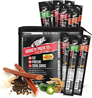 FBOMB Keto Meat Sticks - Sugar Free, Healthy Jerky Sticks | 100% Natural, Non-GMO Nitrite Nitrate Free Pork | High Protein, Low Carb, Gluten Free, Paleo, Whole 30, Keto Snack Sticks | Variety 12 Pack