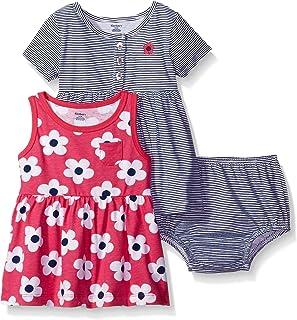 GERBER Baby Girls' 3-Piece Dress and Diaper Cover Set