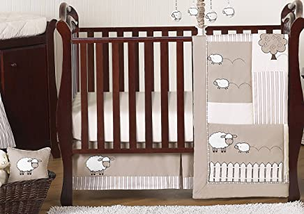 Sweet Jojo Designs 11-Piece Little Lamb,  Sheep Animal Farm Baby Boy Girl Unisex Bedding Crib Set Without Bumper