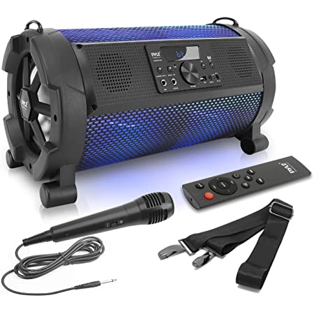 """Wireless Portable Bluetooth Boombox Speaker - 500W 2.1Ch Rechargeable Boom Box Speaker Portable Barrel Loud Stereo System with Flashing LED, Digital LCD Display, AUX, USB, 1/4"""" Mic IN - Pyle PBMSPG180"""