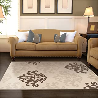 Superior Designer Casper Collection Area Rug, 8mm Pile Height with Jute Backing, Chic Tonal Damask Pattern, Anti-Static, Water-Repellent Rugs - Cream, 4' x 6' Rug