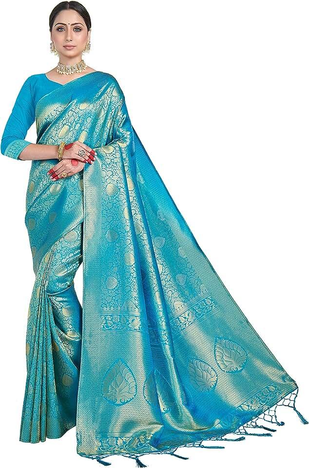 Indian Vardha Women's Brocade Raw Silk Saree With Blouse Piece (Kanjivaram 2) Saree
