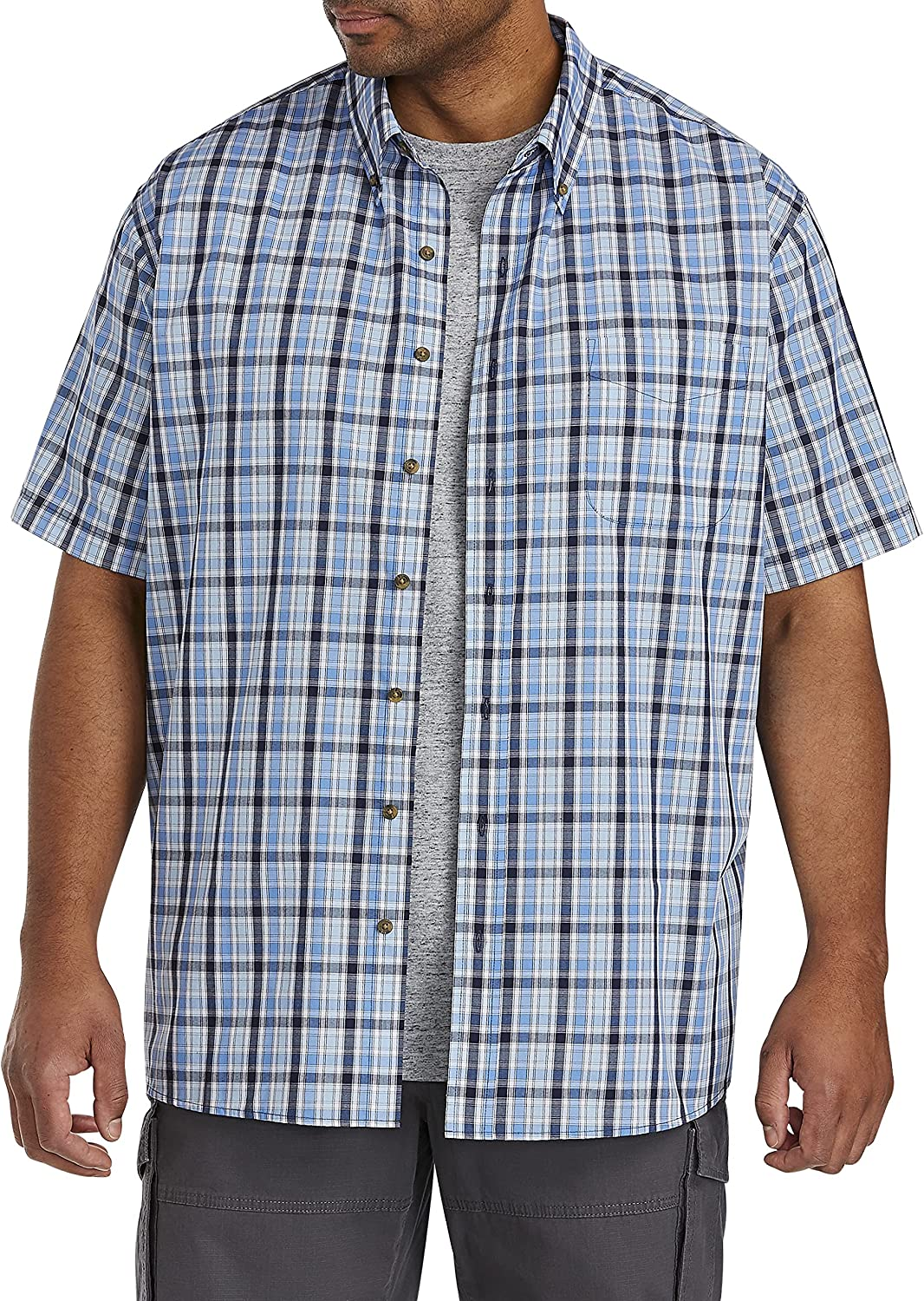 Harbor Bay by DXL Big and Tall Easy-Care Multi Check Sport Shirt, Blue, 1XL