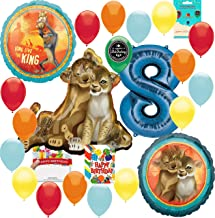 Lion King Party Supplies 8th Birthday Balloon Decoration Supply Bundle with Happy Birthday Card and 8 Treat Bags