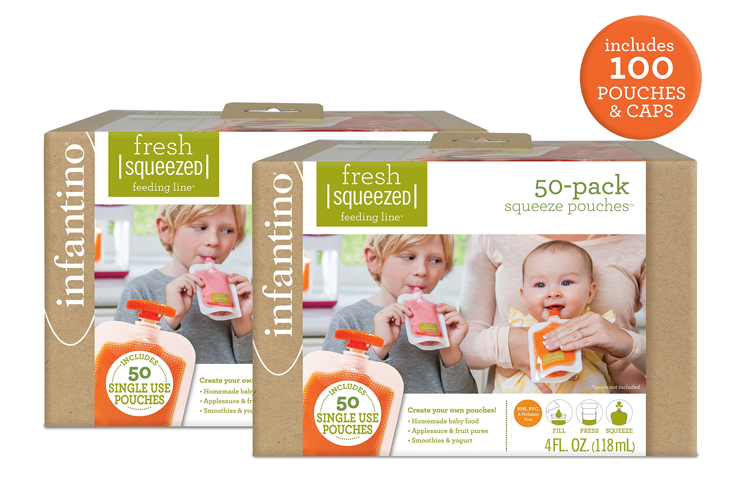 Infantino Squeeze Pouches 100 Count