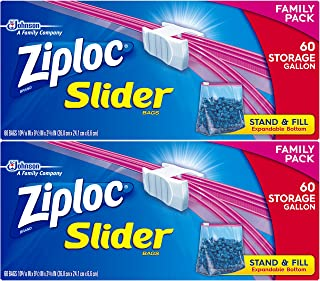 Ziploc Slider Storage Bags Gallon 60 Count (Pack of 2)