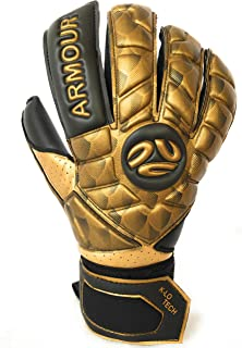 FINGERSAVE Goalkeeper Gloves by K-LO - The Armour Pro Goalie Glove Has Fingersave Protection in All 5-Fingers to Prevent Injury & Improve Shot Blocking. Super Sticky Palms. Youth & Adult Sizes Gold
