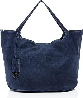 BACCINI Handtasche mit Langen Henkeln echt Wildleder Selma groß Henkeltasche Schultertasche Ledertasche Damen